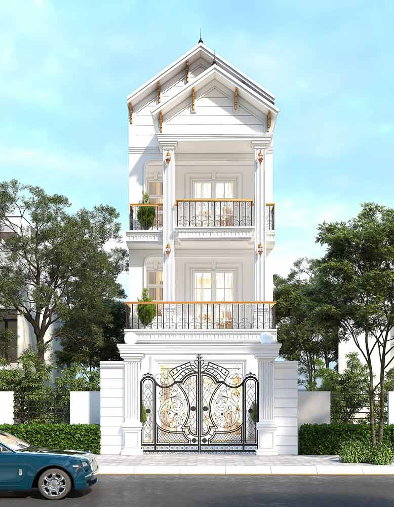 Phong cách cổ điển cho nhà phố mặt tiền 5m có 3 tầng