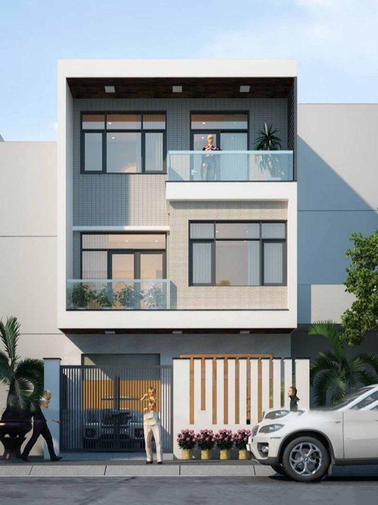 Nhà phố mặt tiền 7m được thiết kế 3 tầng hiện đại